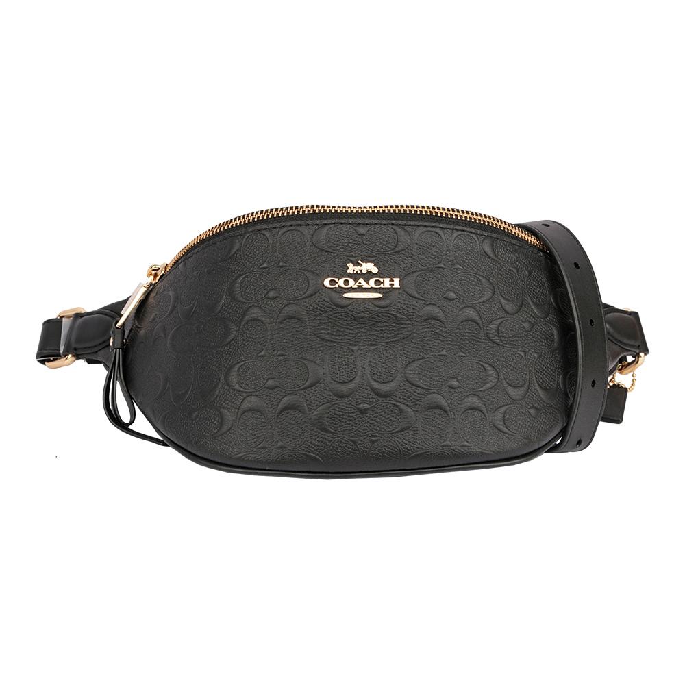 【COACH】荔枝紋浮雕皮革腰包(黑色) F48741 IMBLK