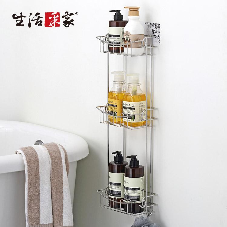 【生活采家】樂貼系列台灣製304不鏽鋼浴室用三層沐浴品置物架#27265