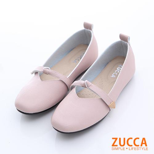 ZUCCA【z6628pk】圓方頭繫繩平底包鞋-粉色