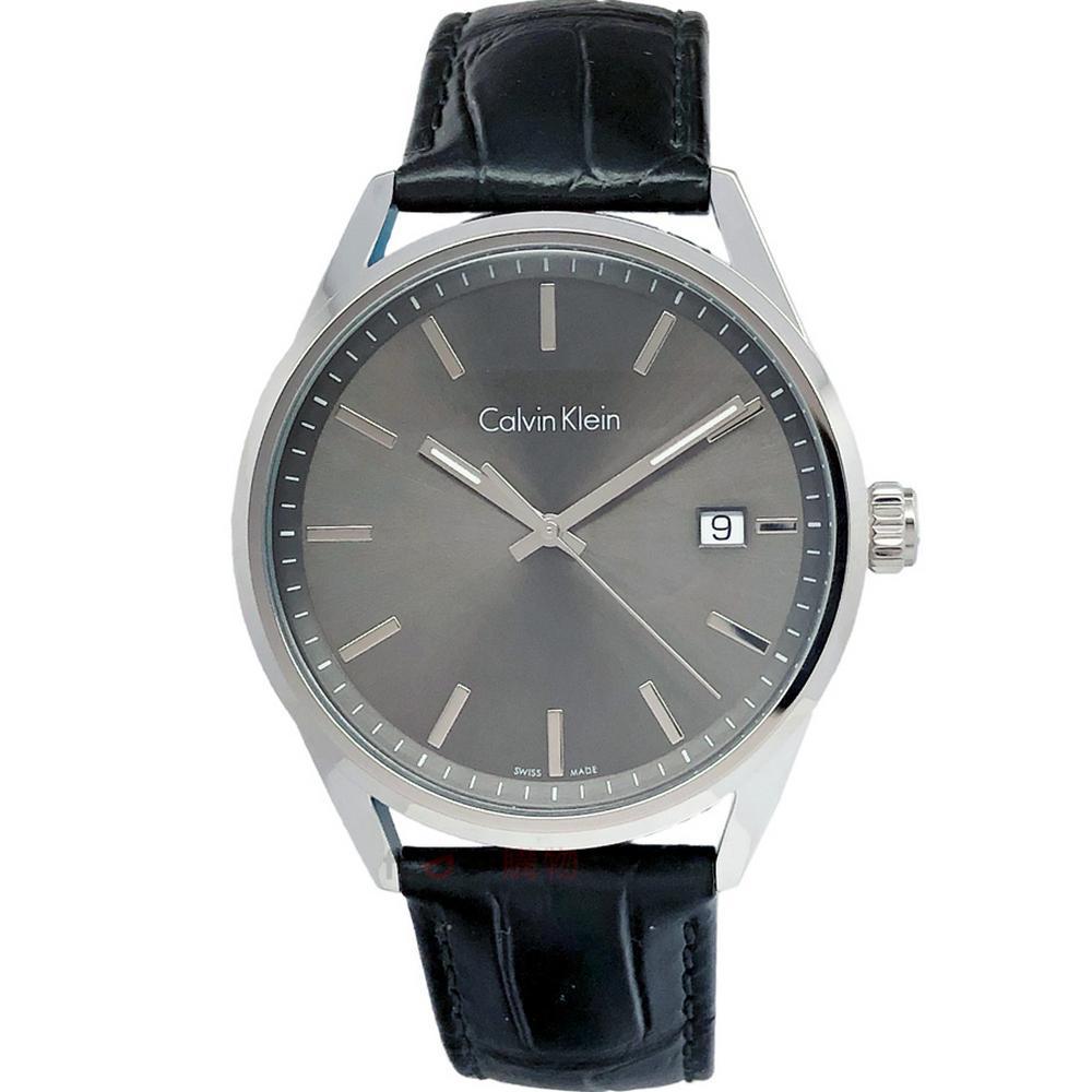 Calvin Klein CK手錶 K4M211C3 灰黑面 黑色壓紋皮帶 男錶