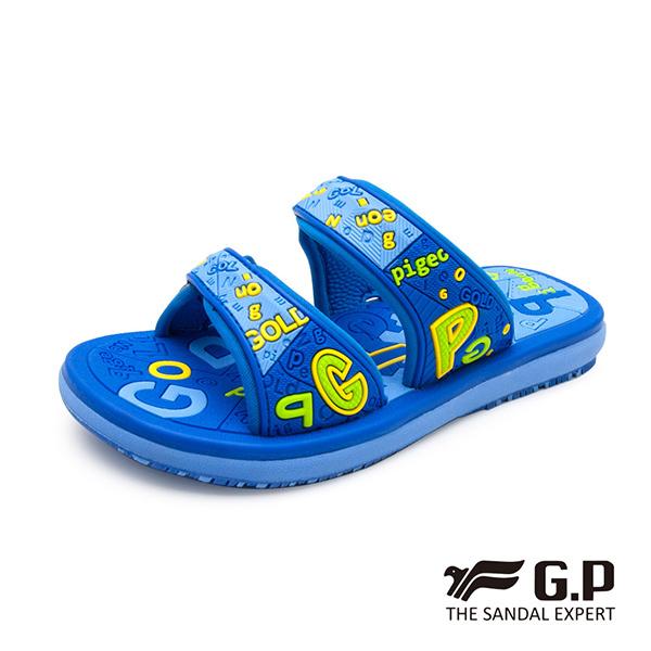 【G.P 可愛字母風兒童雙帶拖鞋】G9012B 藍色(SIZE:28-32 共二色)