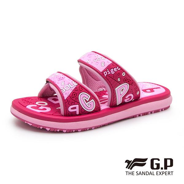 【G.P 可愛字母風兒童雙帶拖鞋】G9012B 桃紅色(SIZE:28-32 共二色)