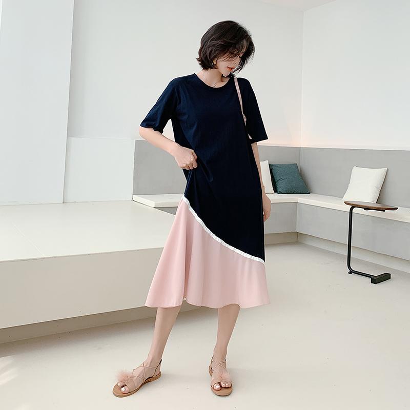 【韓系女衫】L~2XL短袖拼接料棉洋裝雪紡飄逸裙擺