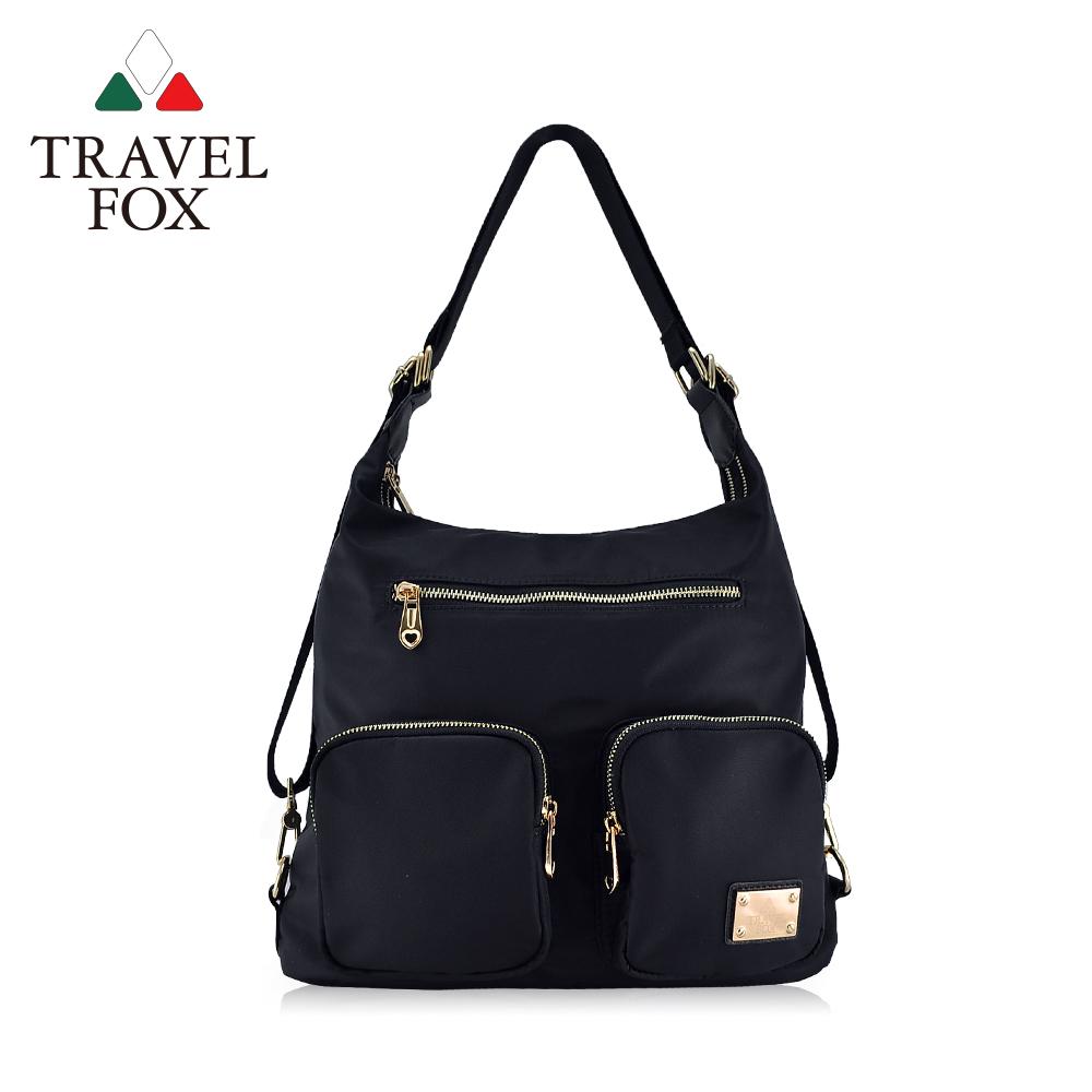 TRAVEL FOX 旅狐 - 多層口袋肩背/後背包兩用包 TB698-01 黑色