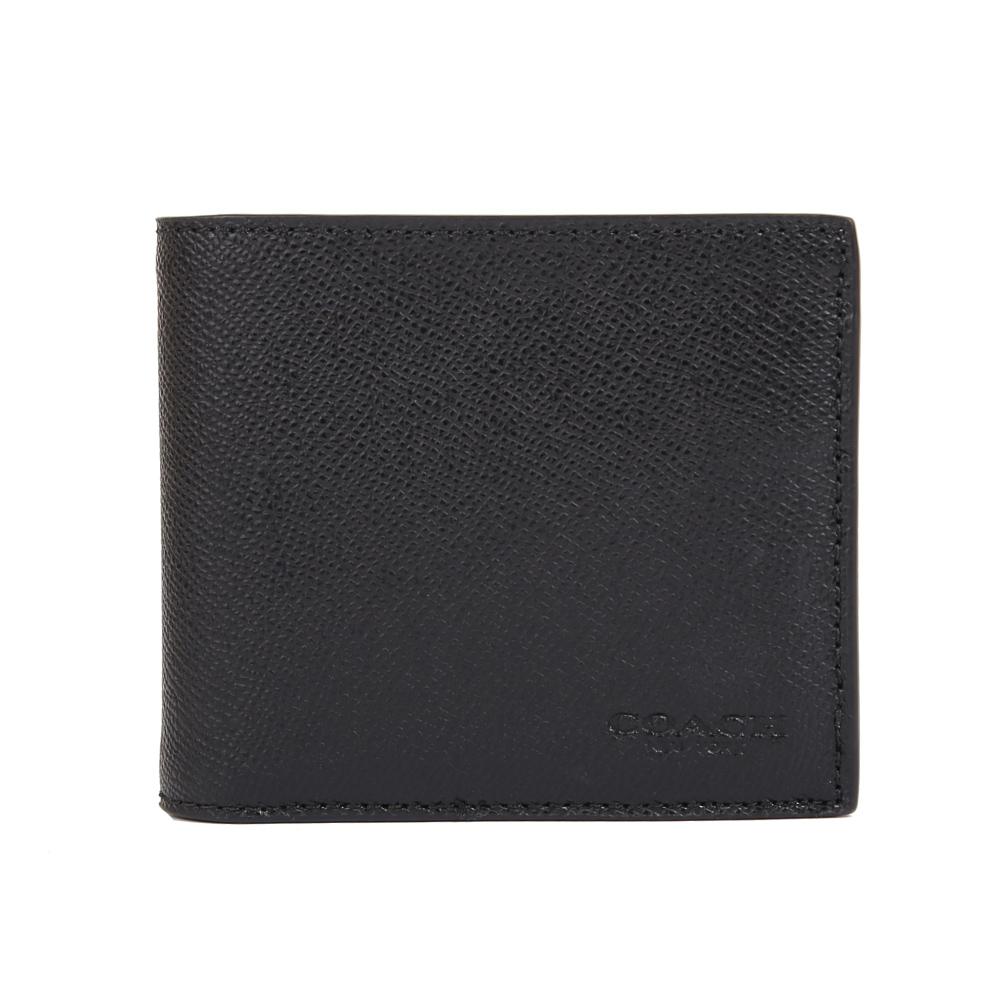 COACH 防刮皮革對開男仕短夾附活動ID票夾(黑色)