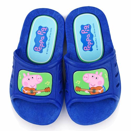 童鞋城堡-粉紅豬小妹 喬治豬 中小童 吉他音樂室內外拖鞋PG0040-藍