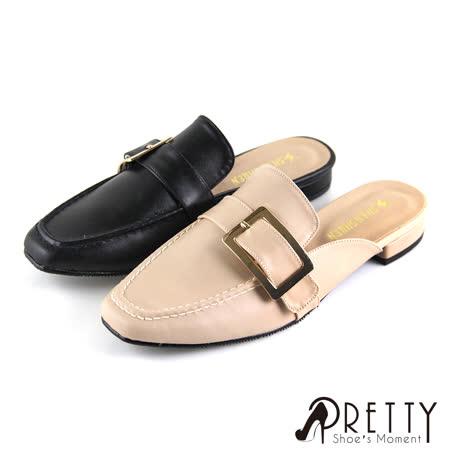 Pretty 方形金屬釦低跟穆勒拖鞋