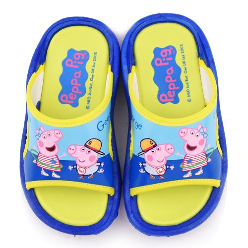 童鞋城堡-粉紅豬小妹 中童 喬治佩佩做運動 戶外拖鞋PG0081-藍