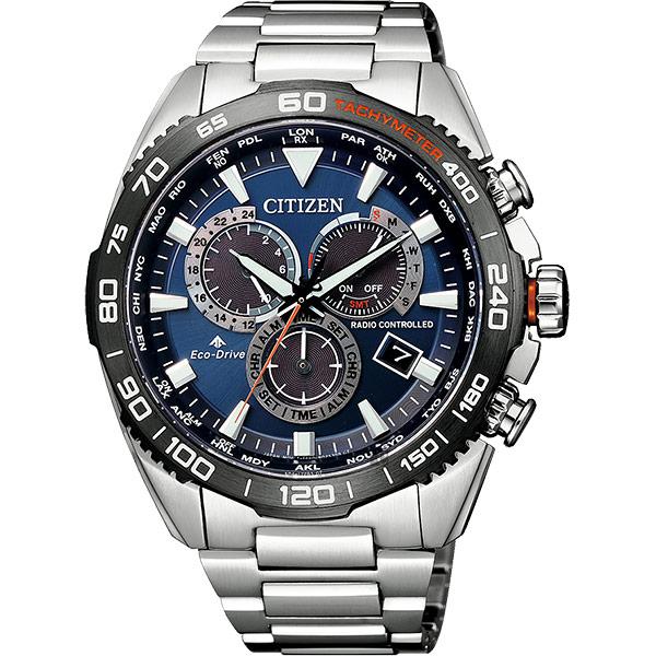 CITIZEN 星辰 光動能萬年曆電波手錶-藍x銀/44.6mm CB5034-82L