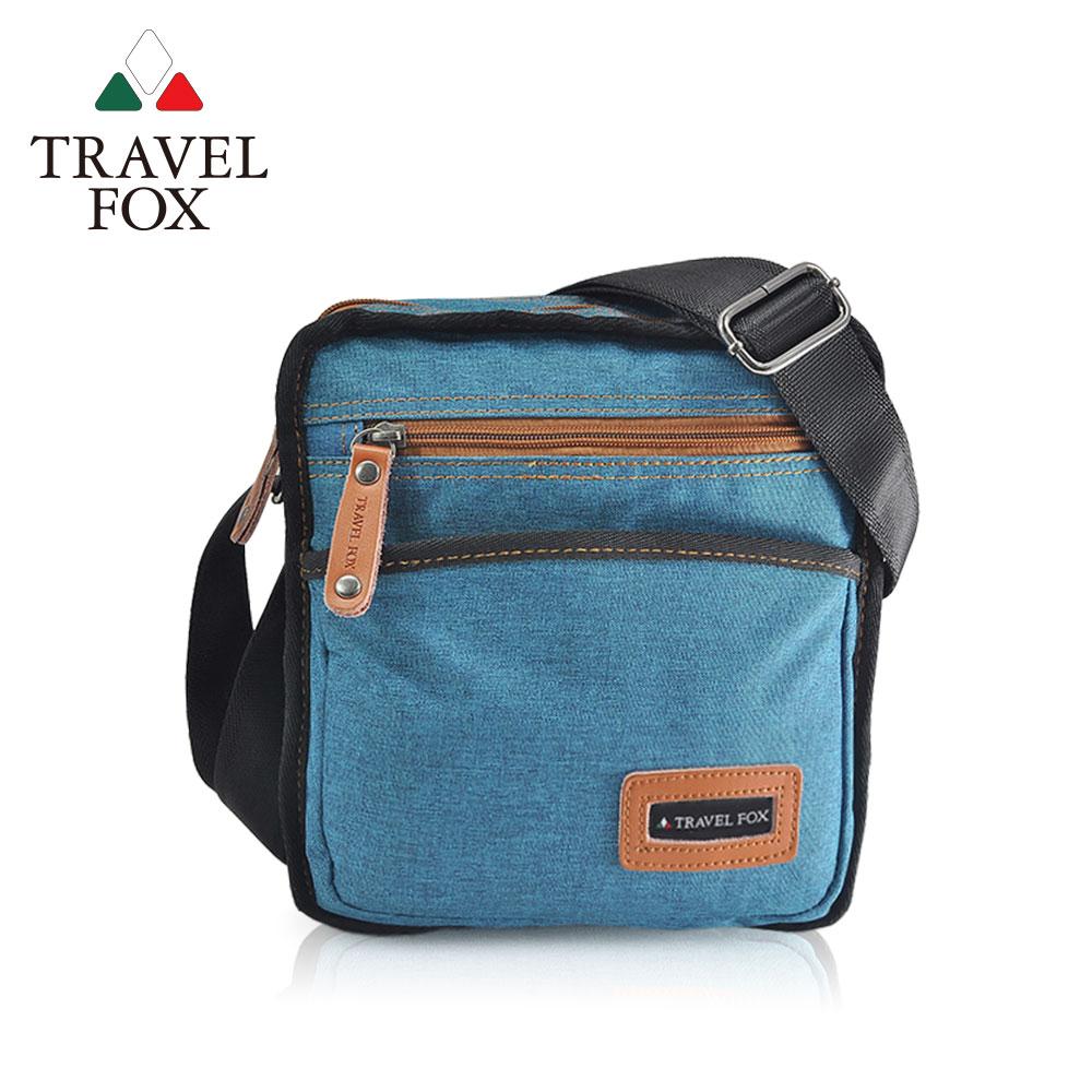 TRAVEL FOX 旅狐 - 簡約單寧紋側背包 TB675-47 藍色