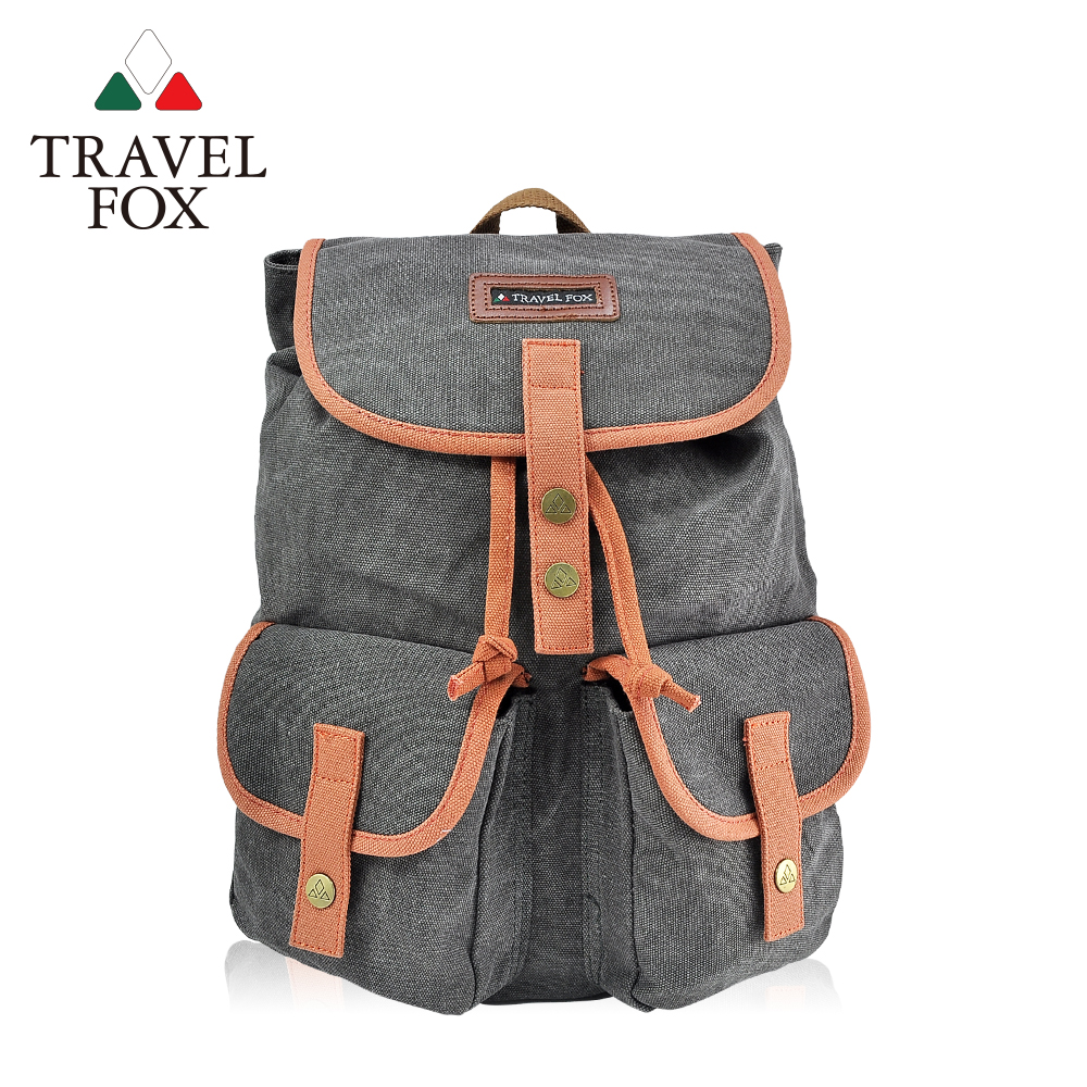 TRAVEL FOX 旅狐 - 大束口帆布後背水筒包 TB672-98 灰色