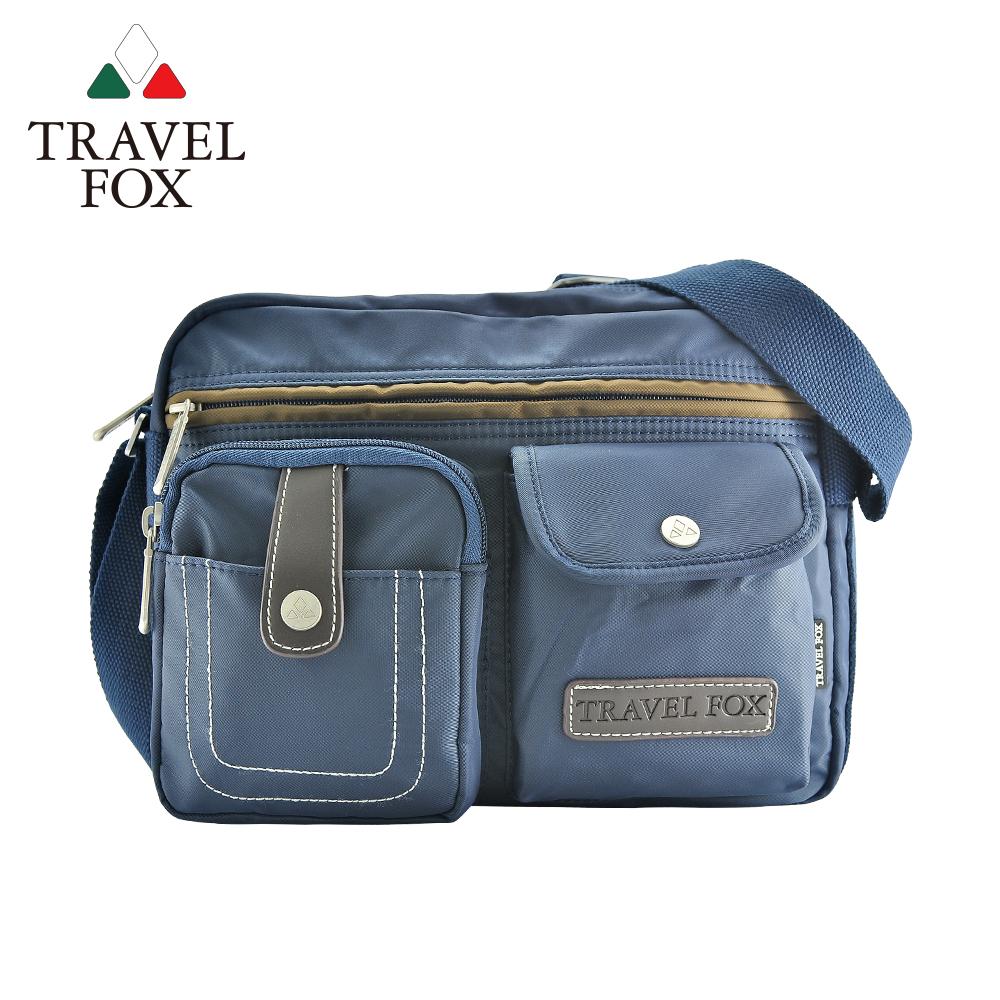 TRAVEL FOX 旅狐 撞色雙層隨身斜背包 TB605-47 藍色