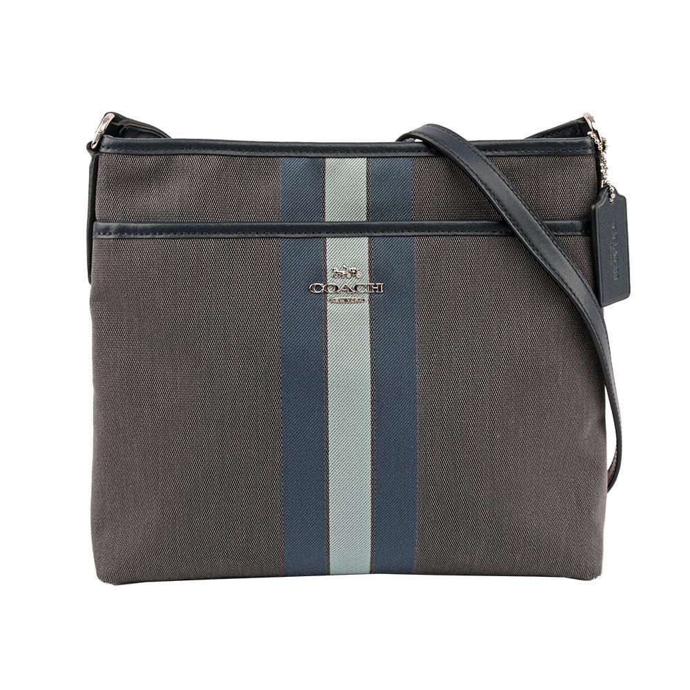 【COACH】馬車LOGO織帶斜背包(薄款)(灰/藍色) F73157 SVOUR