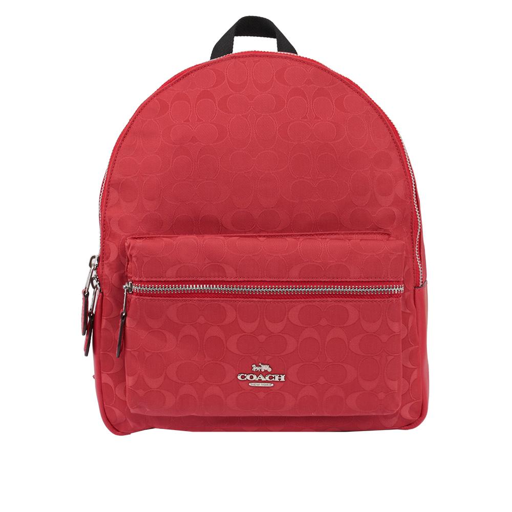 【COACH】緹花布LOGO口袋後背包(中)(紅色) F73186 SVDN8