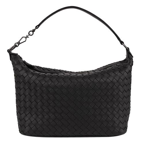 BOTTEGA VENETA - 經典小羊皮編織手提/肩背包(黑)