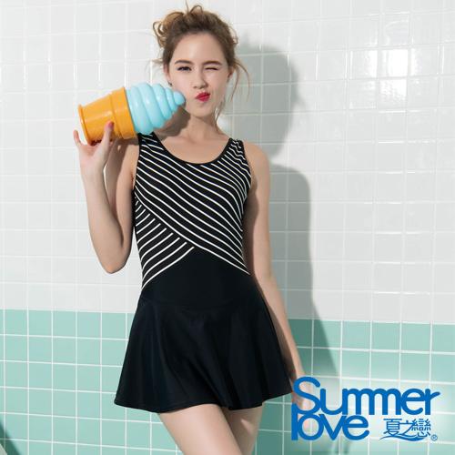 夏之戀SUMMERLOVE 大女時尚條紋連身帶裙泳衣S19716