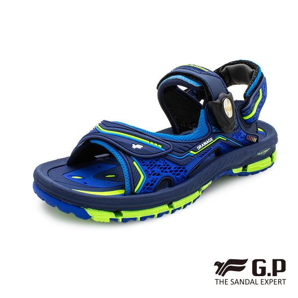 【G.P 兒童透氣舒適磁扣兩用涼拖鞋】G9262B 寶藍色(SIZE:32-36 共二色)