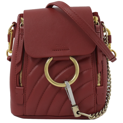 CHLOE FAYE Mini 經典C環扣絎縫小牛皮三用後背包.紅
