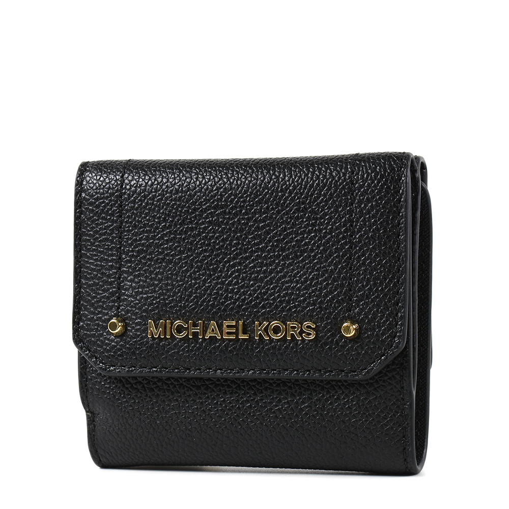 MICHAEL KORS HAYES 金字鉚釘荔枝紋三折釦式短夾-黑色