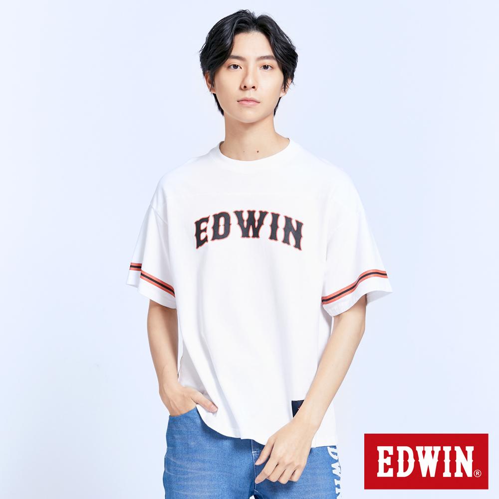 EDWIN 厚磅仿舊復古T恤-男-白色