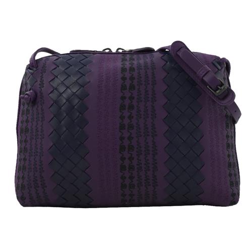 BOTTEGA VENETA  部落風編織皮革斜背小方包.紫