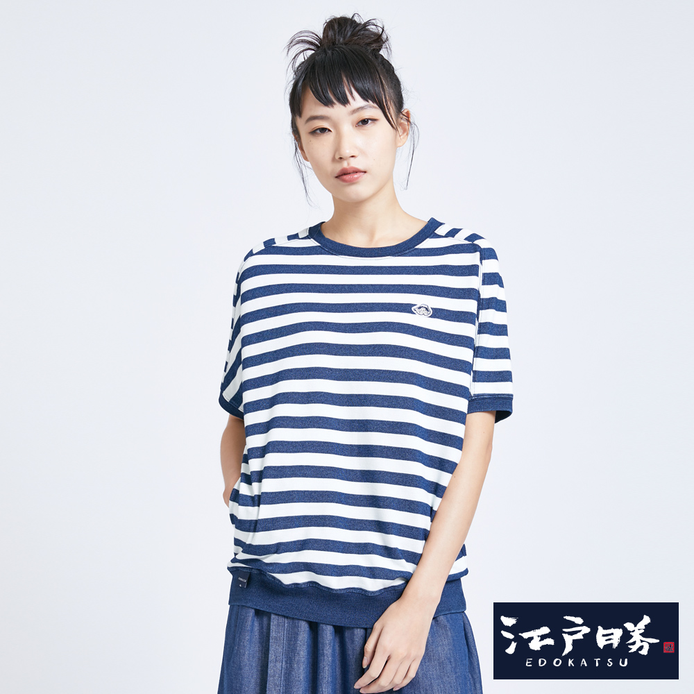 江戶勝 INDIGO剪接條寬T恤-女-酵洗藍