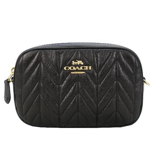 COACH 新款立體馬車小香風牛皮側背/腰包兩用包(黑)