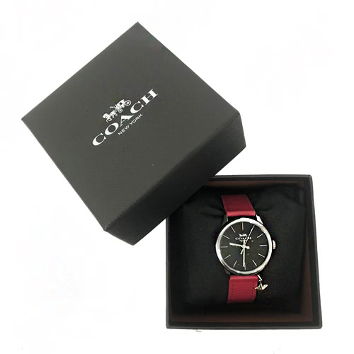 【COACH】經典 LOGO立體星星吊飾皮革錶帶石英錶女用手錶(女款-紅)