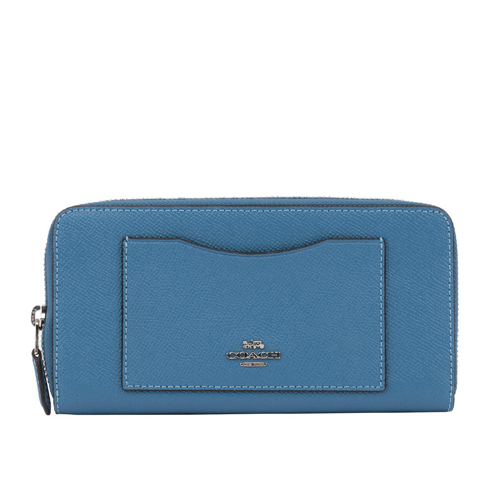 【COACH】馬車LOGO 防刮皮革口袋拉鍊長夾(藍色) F54007 SVYZ
