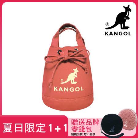 KANGOL  韓版玩色帆布斜背水桶包