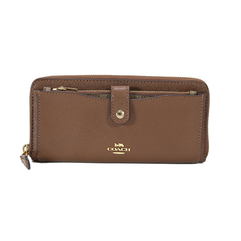 COACH 防刮皮革拉鍊長夾 附萬用卡片夾零錢袋(棕色)