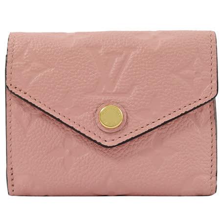 Louis Vuitton皮革壓紋三折短夾-現貨