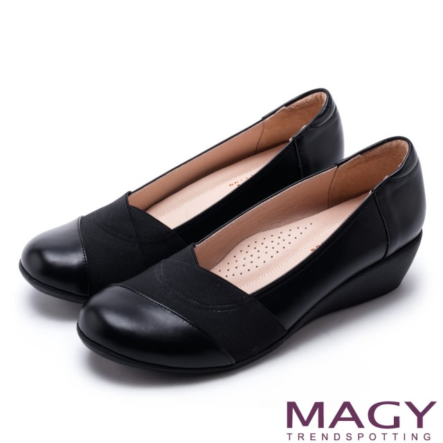 【MAGY】復古舒適 牛皮交叉鬆緊帶厚底休閒鞋(黑色)