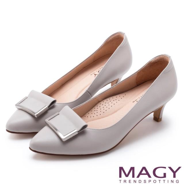 【MAGY】OL通勤專屬 金屬點綴牛皮尖頭中跟鞋(灰色)
