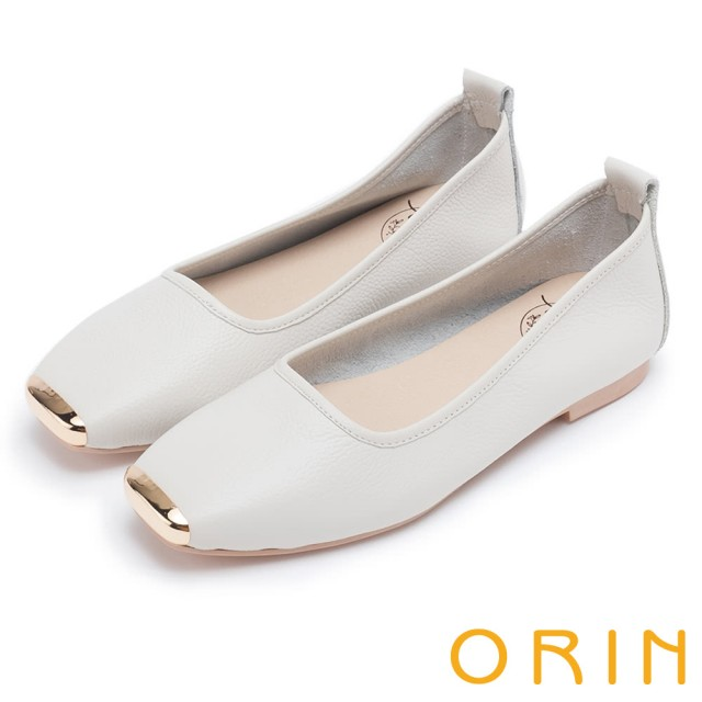 【ORIN】率性簡約 金屬方頭牛皮平底鞋(米白)