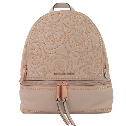 MICHAEL KORS Rhea zip 玫瑰花鉚釘雙層雙肩後背包.柔粉 (專櫃款)