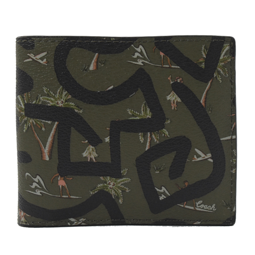 COACH Keith Haring 聯名限量六卡短夾.綠 (專櫃款)