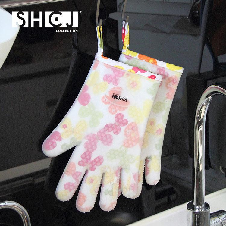 【SHCJ生活采家】五指型雙層防燙矽膠隔熱手套(2入組)#99409