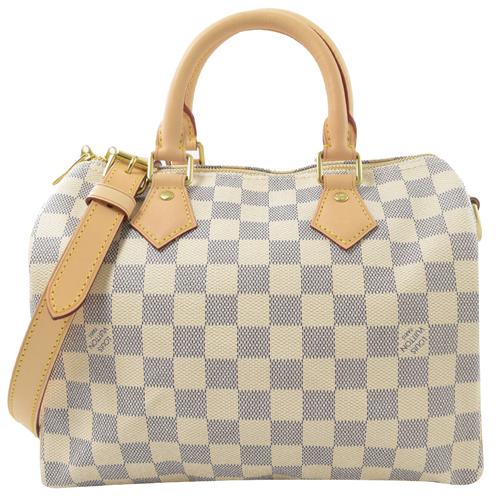 Louis Vuitton LV N41374 Speedy 25 白棋盤格紋附斜背帶手提包(附銷組)_現貨
