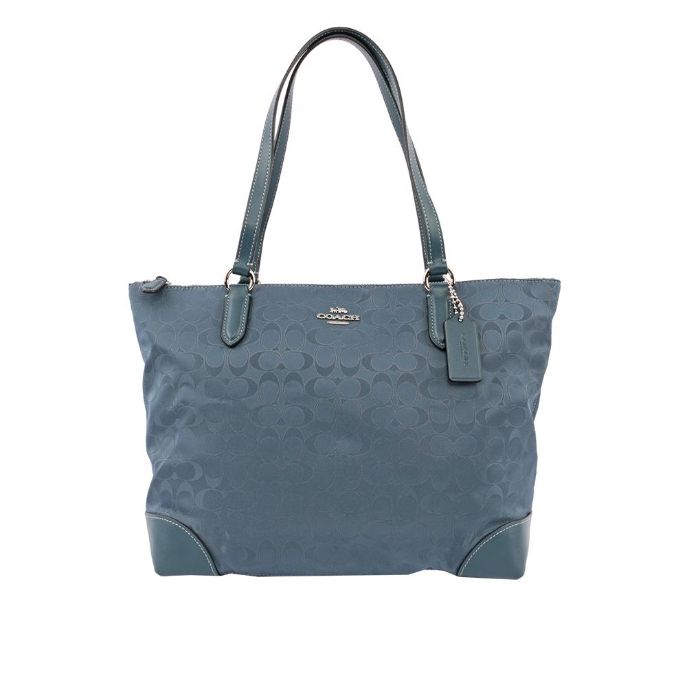 【COACH】緹花布LOGO肩背包(藍色) F73184 SVBL