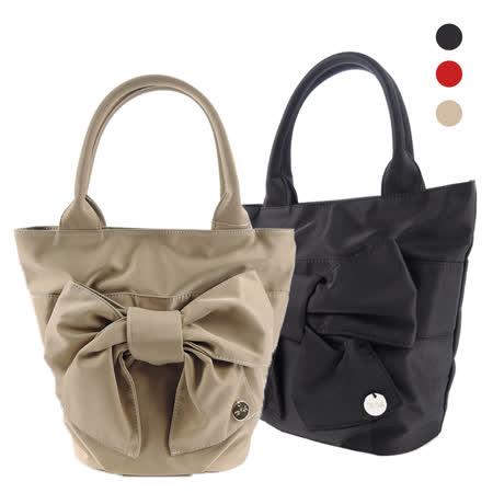 agnes b 蝴蝶結素面手提包