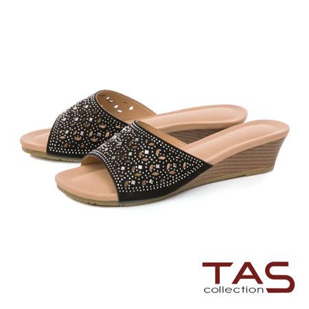 TAS  水鑽鏤空一字涼拖鞋