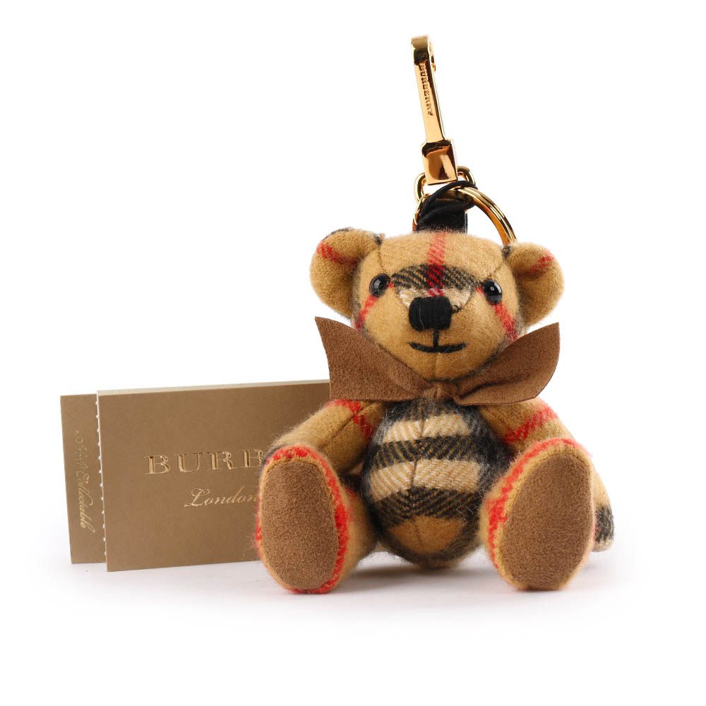 【BURBERRY】Vintage 格紋喀什米爾 Thomas 泰迪熊吊飾/Key圈 8003322