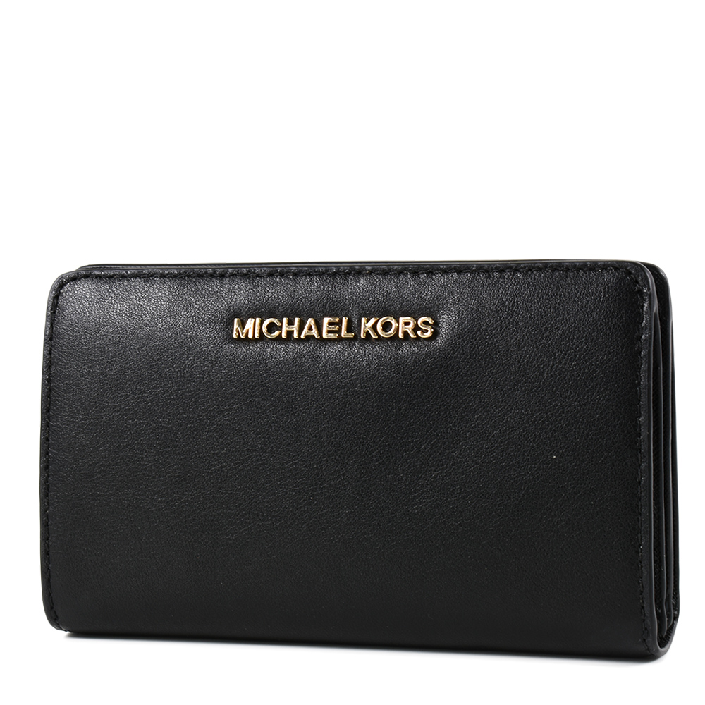 MICHAEL KORS 金字滑面皮革釦式對開中夾/手機包-黑色