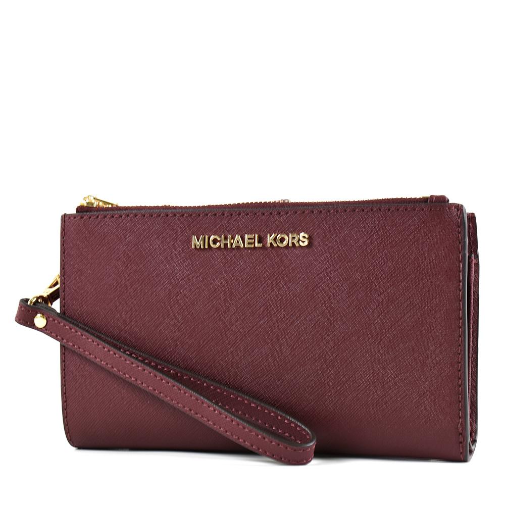 MICHAEL KORS 專櫃款 防刮皮革對折釦式手掛手拿/手機包-酒紅色