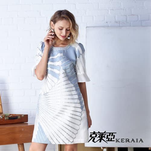 【KERAIA 克萊亞】銀絲緹花雪紡袖洋裝