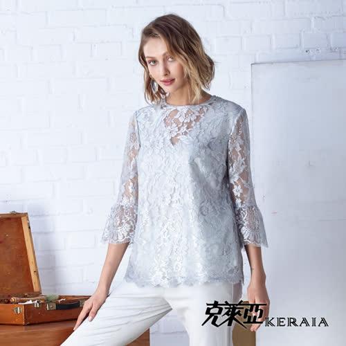 【KERAIA 克萊亞】滿版蕾絲緹花魚尾袖上衣