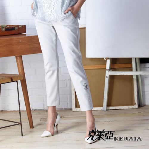 【KERAIA 克萊亞】腰間拼接蕾絲貼花彈性長褲
