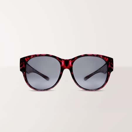 潮流暗紫豹紋UV400 外掛式偏光太陽眼鏡