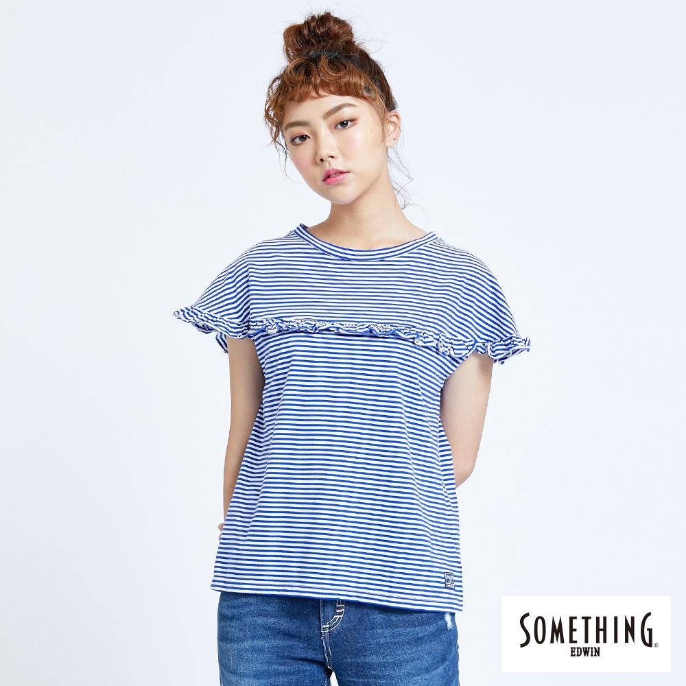 SOMETHING 細條荷葉圓領T恤-女-藍色